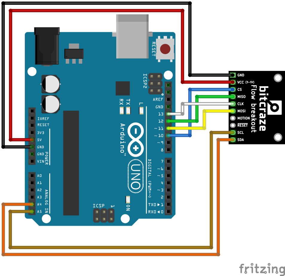 Flow breakout Arduino uno cabling
