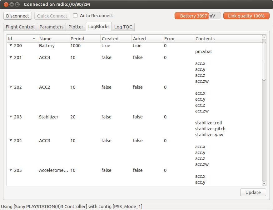 Log block debugging tab